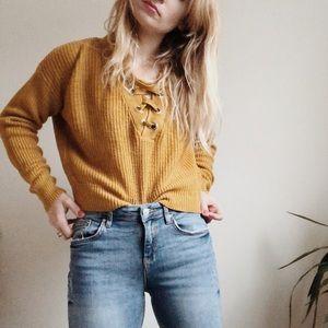 ✨HOST PICK✨ Urban Heritage Laced Mustard Sweater
